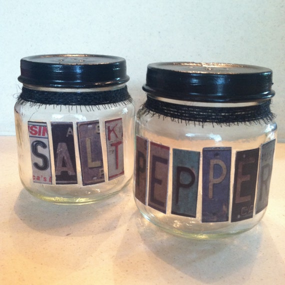 License Plate Salt and Pepper Shakers