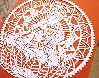 Lakshmi Laxmi Hindu, Papercut Template, Diwali Goddess of Wealth Hinduism Indian Spiritual, Deity, COMMERCIAL USE
