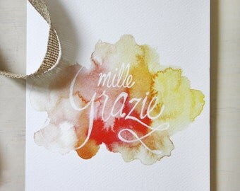 "Greeting Card ""mille grazie"", lettering, watercolour"