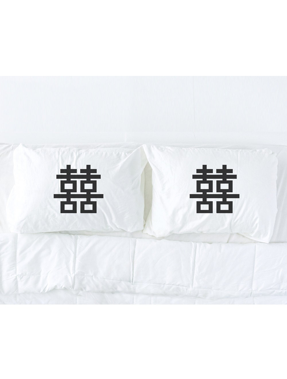 Double Happiness Pillowcase Set, Wedding Gift, Chinese Good Luck, His And  Hers Pillows, Couples Pillowcases, Pillow Talk Images