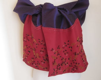 Floral Hand Beaded Thailand Silk Scarf, Rich Purple and Red Materials with Red and Yellow Glass Beads, Flowers on the Vine