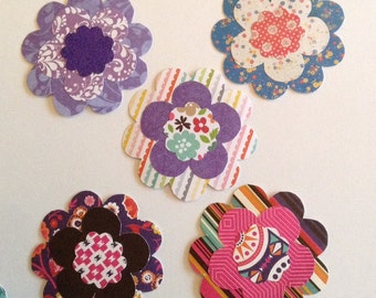 5 Handmade Paper flowers, colourful flower cut outs, scrapbooking embellishment, card making, gift tag, flower die cuts