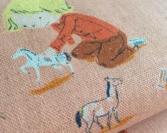 Pony Play PEACH Heather Ross Far Far Away for Kokka Fabric