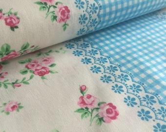 Flower Sugar Picnic Stripe BLUE Lecien Fabric