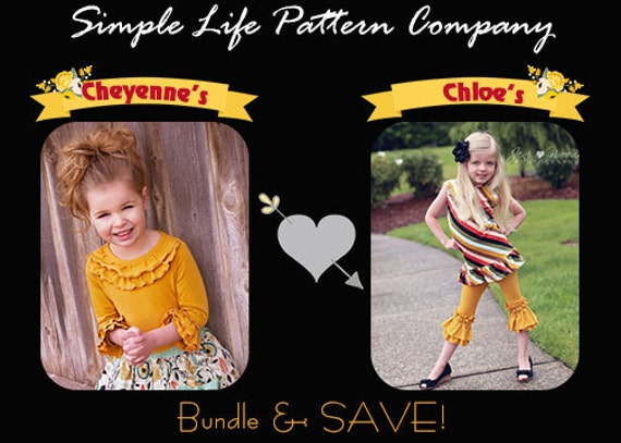 BUNDLE: Chloe's Ruffle Leggings, Capris & Shorties AND Cheyenne's Ultimate Ruffle Tshirt. PDF sewing pattern for toddler girl sizes 2t - 12.