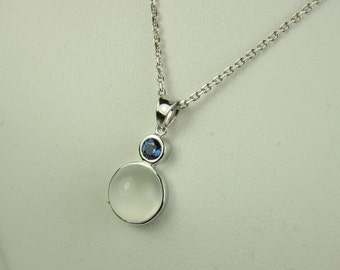 Sterling Silver Round Moonstone and Sapphire Bezel Pendant on Sterling Silver Chain
