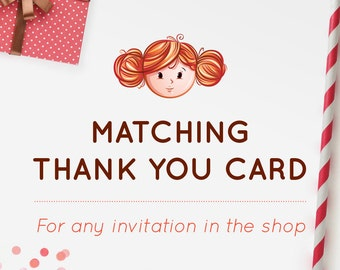 MATCHING THANK YOU Card, Printable Thank You Card, Party Invitation, Red Head Invites