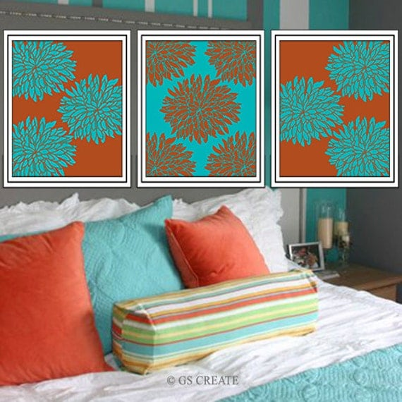 Turquoise Kitchen Accents: Terracota Turquoise Kitchen Wall Art Kitchen Decor By GScreate