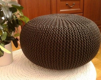 furniture, knitted pouf,seat, living room, bedroom, home & decor, knitting pouf, crochet pouf,  handmade pouf, cotton cord, brown,footstool