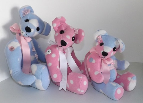 Memory teddy bears custom made from baby sleepers blankets or other