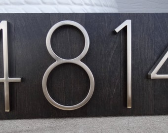 Modern House Numbers Plaque with Ebony Stained Wood