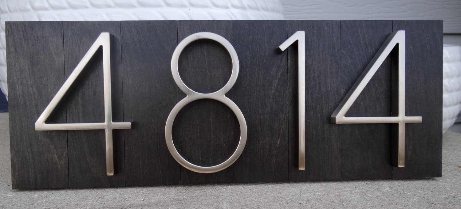 Reserved for beth modern house numbers plaque with special for Modern house number plaques