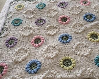 Handmade Crocheted Pastel Flower Afghan