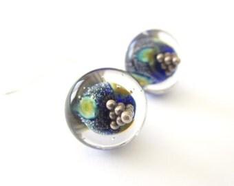 Ocean Deeps - Handmade Lampwork Sterling Silver Drop Earrings