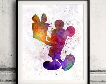 Mickey Mouse 8x10 in. to 12x16 in. Fine Art Print Glicee Disney Poster Watercolor Nursery Gift Room Children's Art Illustration - SKU 1065