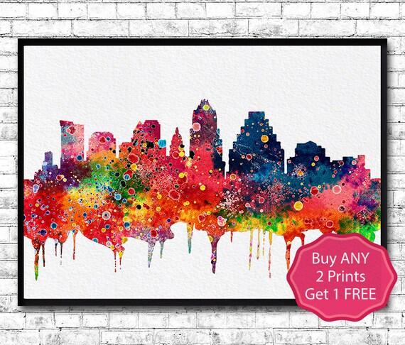 Austin Texas Watercolor Print City Skyline Austin By ArtsPrint