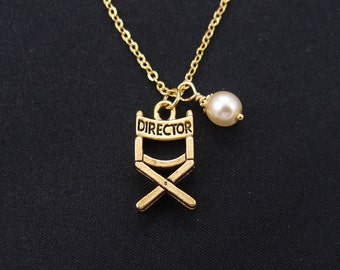 director's chair necklace, Swarovski pearl choice, long necklace option, gold film director charm on gold plated chain, movie film charm