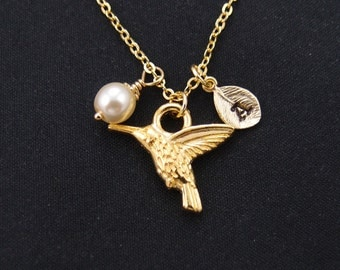 initial necklace, tiny hummingbird necklace, Swarovski pearl choice, long necklace option, gold bird charm, flying bird charm,christmas gift