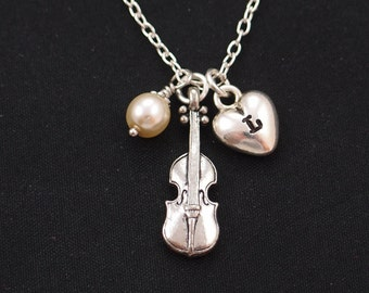 initial necklace, violin necklace, Swarovski pearl choice, gifts for classical music lover, violin player jewelry, violin teachers gift