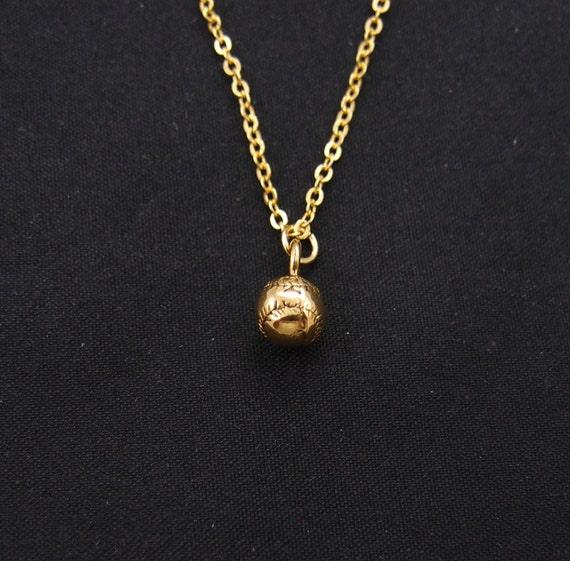 tiny baseball necklace necklace option gold baseball