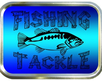 Fishing tackle design 2oz gold tobacco tin,pill box,storage tin