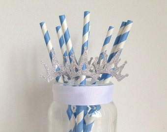 Boys Birthday Party Blue and Glitter Silver Crown Straws