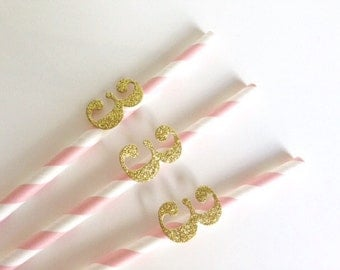 3rd Birthday Party Baby Pink Stripe and Glitter Number Straws