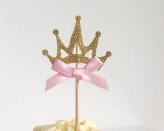 Baby Shower or Birthday Party Pink and Gold Glitter Crown Cupcake Toppers