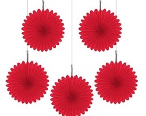 Red Hanging Fans (5 Paper fans per pack)