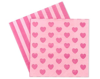 20 Napkins | Pink Party Napkins | Pink Napkins | Pink Hearts Napkins | Party Napkins | Baby Shower | 1st Birthday | Napkins | Princess Party