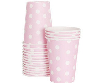 12 Pink Party Cups | Polka Dot Cups | Pink Cups | Paper Cups | Baby Shower | 12 Per Pack | Pink | Party Cups