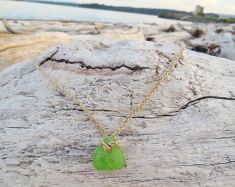 Lime Green Patterned Sea Glass from San Juan Island on a braided Hemp necklace