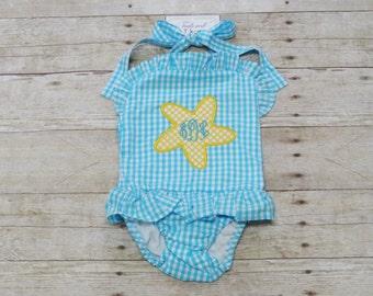 Personalized Girls Swimsuit - Girls Monogrammed Swimsuit - Ruffled Swimsuit - Girls Monogram Swimsuit - Girls Bathing Suit - Starfish