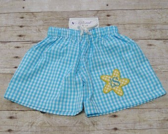 Personalized Boys Swimsuit - Boys Monogrammed Swimsuit - Boys Swim Trunks - Boys Monogram Swimsuit - Boys Bathing Suit - Starfish Applique