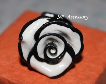 valentine gift, Ring Black White Rose, jewelry ring, flower ring, ring clay, black white ring