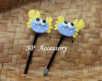 Lovely Hair Pin Crab, hair pin clay, jewelry hair pin