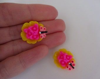 2 yellow pink flower butterfly resin flatback decoden cabochons 17x13x5mm Kawaii embellishments scrapbook DIY phone hairbow centre clip pin