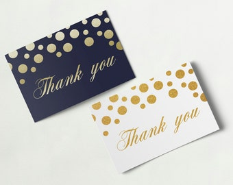 Printable thank you card, gold glitter thank you template instant download, golden card design, dots thank you tags gold white navy card