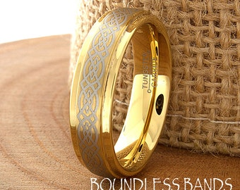 Celtic Knot Tungsten Wedding Ring High Polished Stepped Edges Brushed Mens Gold Plated Women Anniversary Ring New Design Classic Modern 8mm