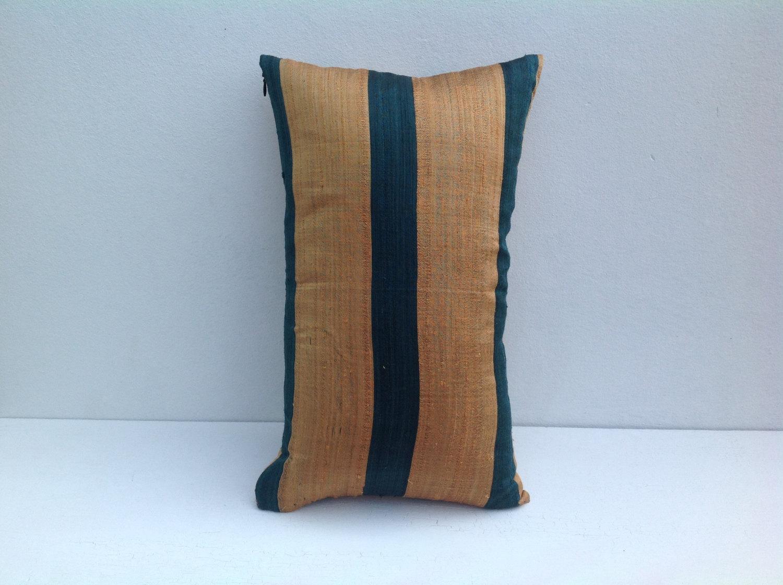 Long Round Decorative Pillow : Decorative pillow Case 12 X 20 Tribal Stripes Silk Ikat