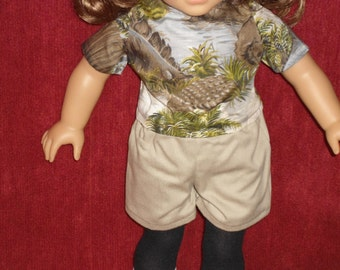 "18"" boy doll outfit short set"