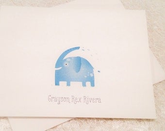 Personalized Children's Stationery-Elephant Safari Note Cards-Children's Thank You Notes- Set of 10