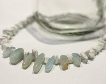 Gemstone Spike statement necklace- White and Aquamarine