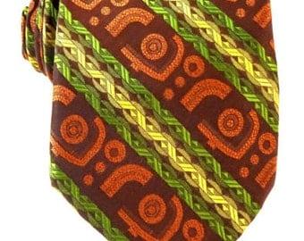 Vintage 1970s Tie Capri Color-Mates Stripe Brown Green Gold Necktie
