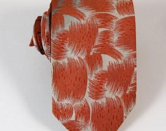 Super Cool Tie Gray Orange Necktie Vintage 1960s
