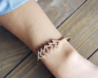 Triangle Cuff Bracelet - sparkly gold bracelet / statement jewelry / geometric bracelet / gold cuff / stacking bracelet / gifts for her