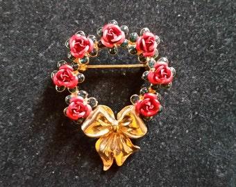Vintage Avon Rose Wreath Brooch