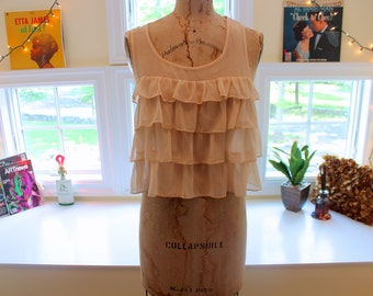 Peach Frilled Sleeveless Blouse
