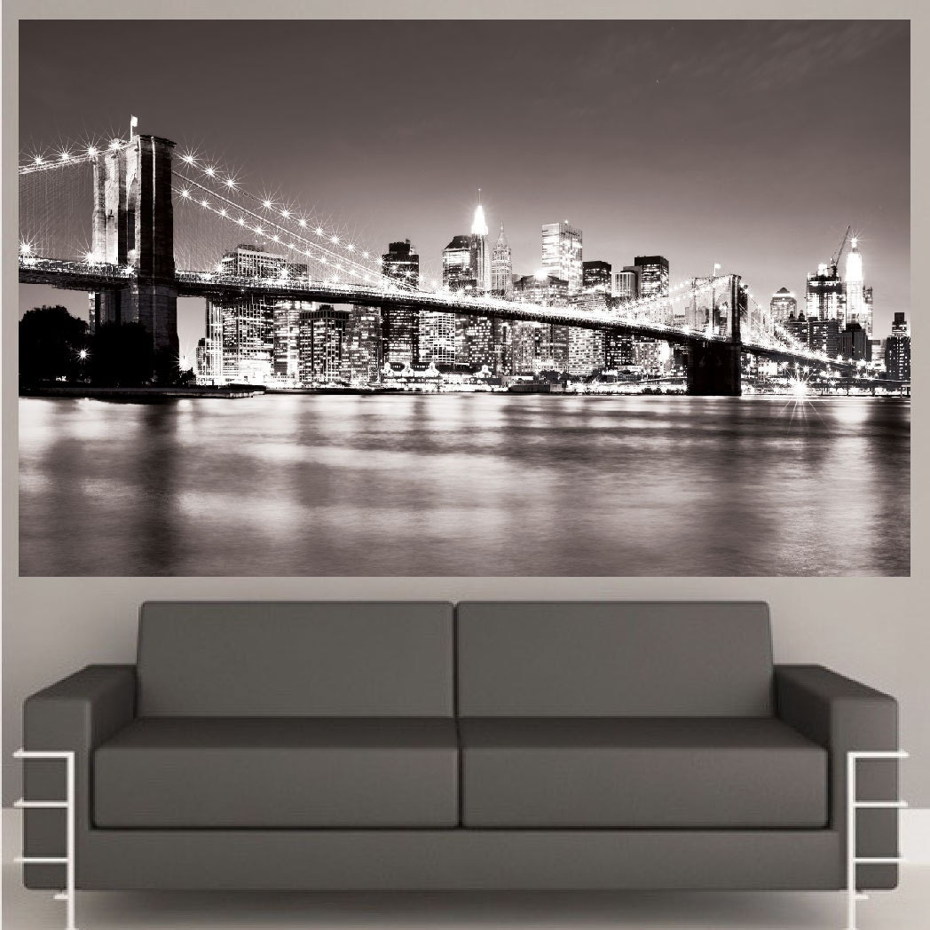 New york decal mural new york wall decal nyc cityscape new for Cityscape wall mural