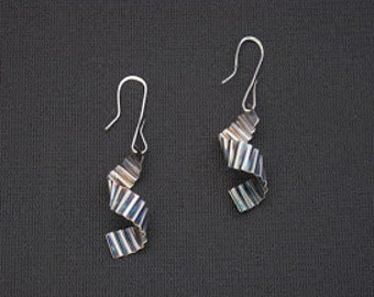 Stunning contemporary folded and spiraled earrings